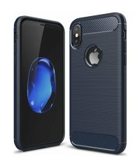 Carbon Back Cover Σιλικόνης μπλέ iphone X/Xs iPhone X / XS