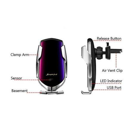 smart sensor car wireless charger ασημί R1 Gadget
