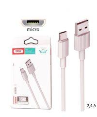 XO NB156 USB 2,4A to micro USB Cable Λευκο 1m MICRO
