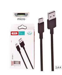 XO NB156 USB 2,4A to micro USB Cable Μαύρο 1m MICRO